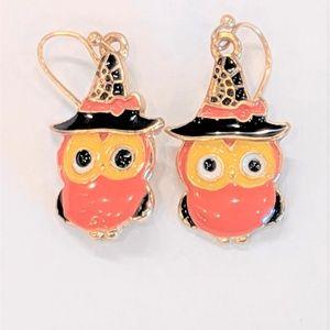 Jewelry - Halloween Owl Earrings with Witch Hats Enamel